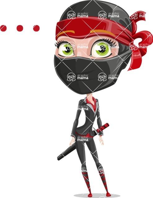 Ninja Woman Cartoon Vector Character AKA Aina - Blank