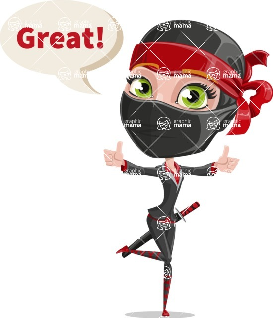 Ninja Woman Cartoon Vector Character AKA Aina - Thumbs Up