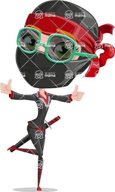 Ninja Woman Cartoon Vector Character AKA Aina - Sunglasses