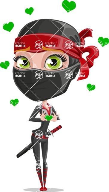 Ninja Woman Cartoon Vector Character AKA Aina - Show Love