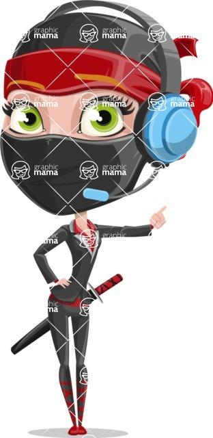 Ninja Woman Cartoon Vector Character AKA Aina - Support