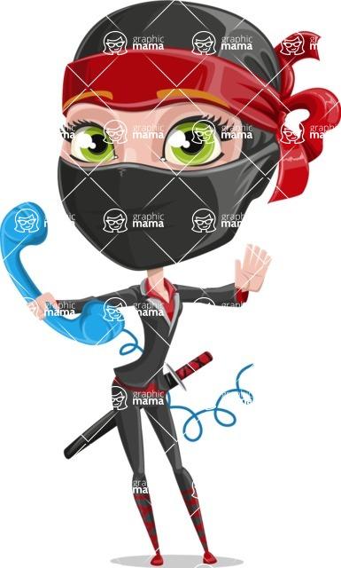 Ninja Woman Cartoon Vector Character AKA Aina - Support 2