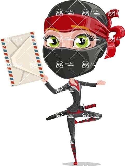 Ninja Woman Cartoon Vector Character AKA Aina - Letter