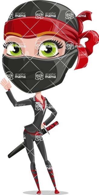 Ninja Woman Cartoon Vector Character AKA Aina - Wave