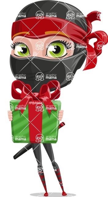 Ninja Woman Cartoon Vector Character AKA Aina - Gift
