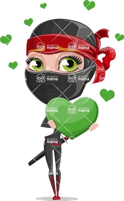 Ninja Woman Cartoon Vector Character AKA Aina - Love