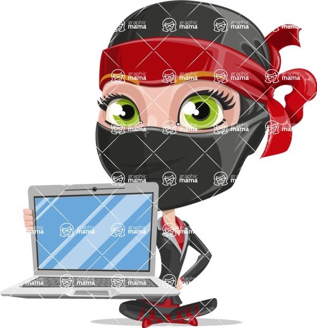 Ninja Woman Cartoon Vector Character AKA Aina - Laptop 1