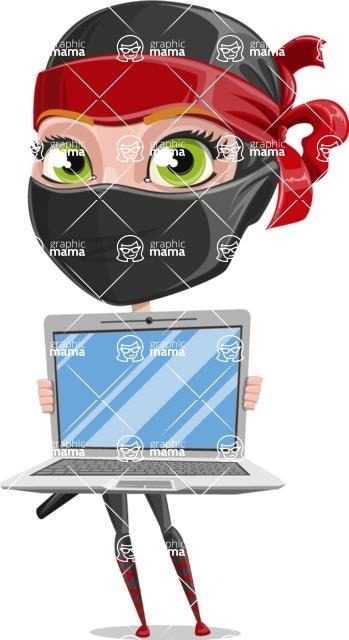 Ninja Woman Cartoon Vector Character AKA Aina - Laptop 3
