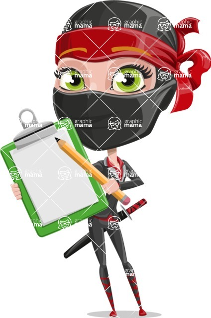 Ninja Woman Cartoon Vector Character AKA Aina - Note 1