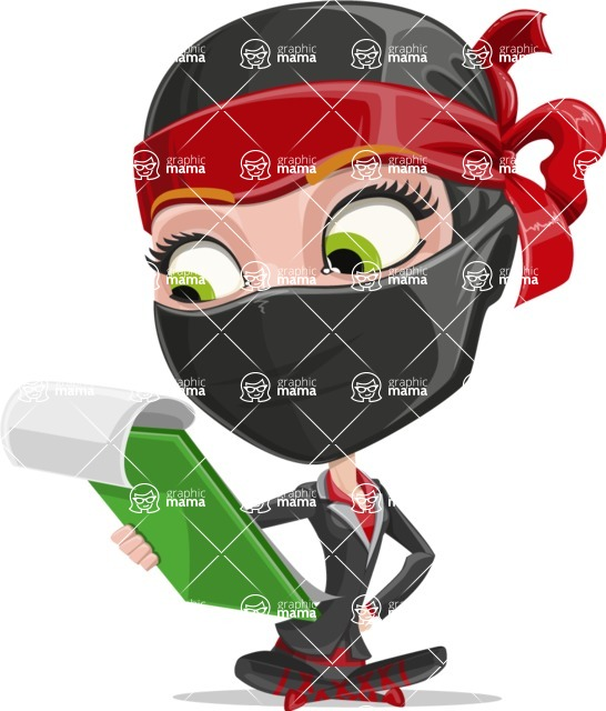 Ninja Woman Cartoon Vector Character AKA Aina - Note 2