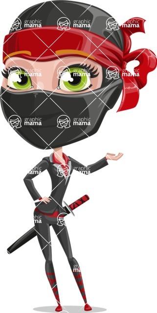 Ninja Woman Cartoon Vector Character AKA Aina - Showcase 1