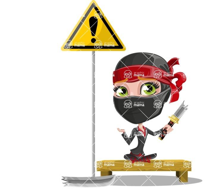 Ninja Woman Cartoon Vector Character AKA Aina - Under Construction 1