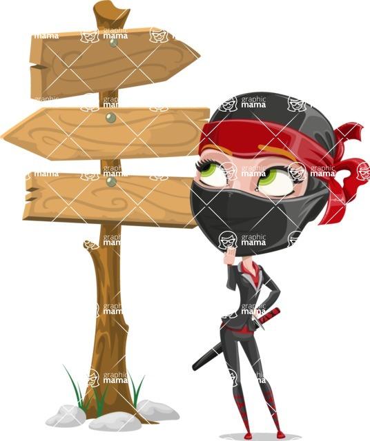 Ninja Woman Cartoon Vector Character AKA Aina - Crossroads