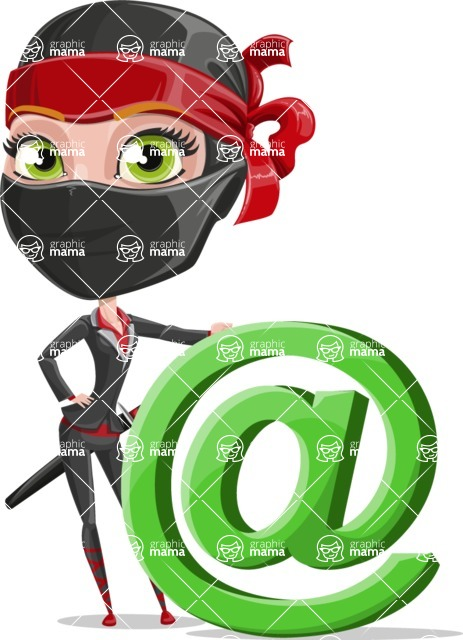 Ninja Woman Cartoon Vector Character AKA Aina - At Symbol