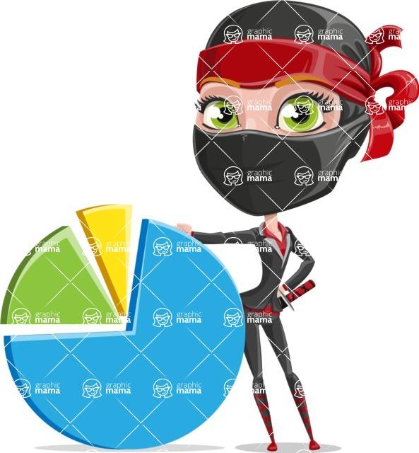 Ninja Woman Cartoon Vector Character AKA Aina - Chart
