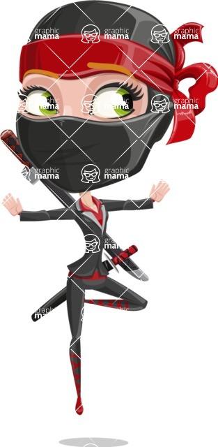 Ninja Woman Cartoon Vector Character AKA Aina - Jump