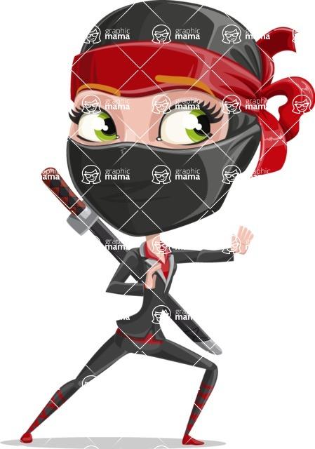 Ninja Woman Cartoon Vector Character AKA Aina - Sneak Attack