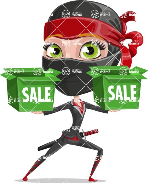 Ninja Woman Cartoon Vector Character AKA Aina - Sale 1