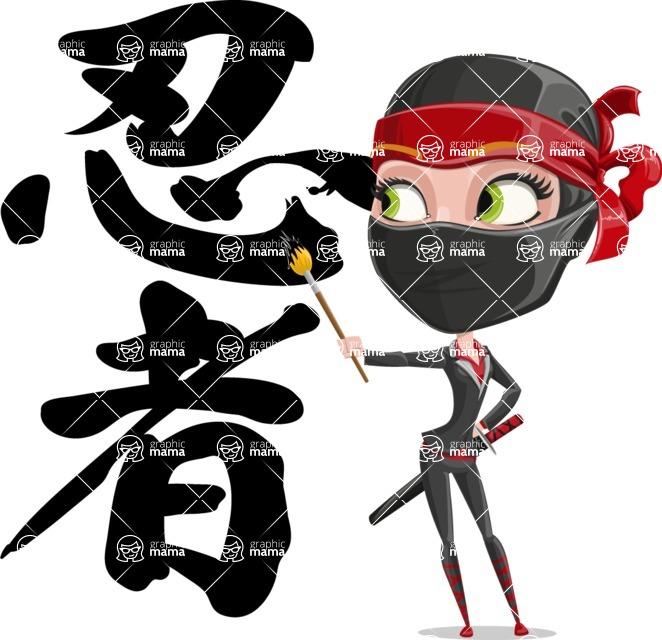 Ninja Woman Cartoon Vector Character AKA Aina - Creativity