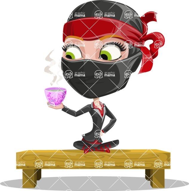 Ninja Woman Cartoon Vector Character AKA Aina - Tea