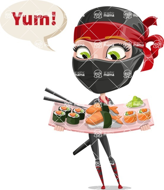 Ninja Woman Cartoon Vector Character AKA Aina - Food 2