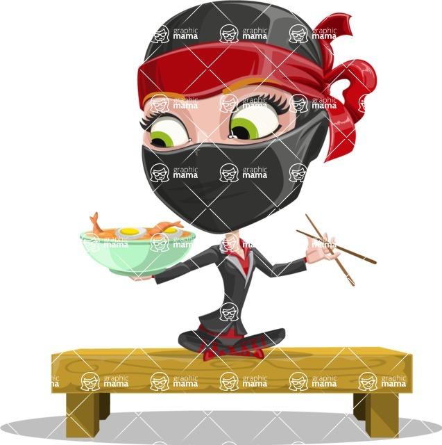 Ninja Woman Cartoon Vector Character AKA Aina - Food 3