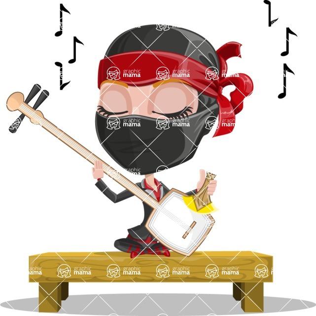 Ninja Woman Cartoon Vector Character AKA Aina - Music