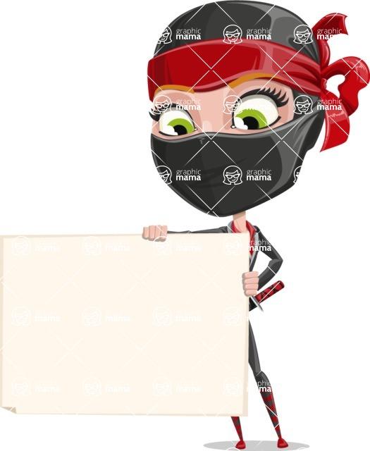 Ninja Woman Cartoon Vector Character AKA Aina - Sign 3