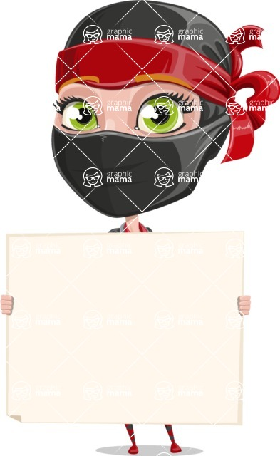 Ninja Woman Cartoon Vector Character AKA Aina - Sign 4