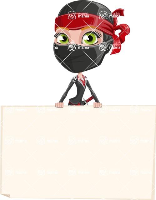 Ninja Woman Cartoon Vector Character AKA Aina - Sign 6