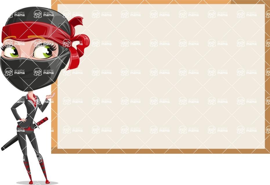 Ninja Woman Cartoon Vector Character AKA Aina - Presentation 1