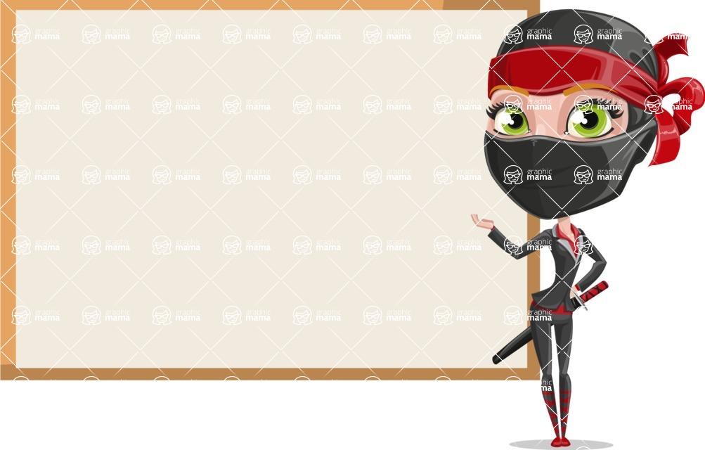 Ninja Woman Cartoon Vector Character AKA Aina - Presentation 2