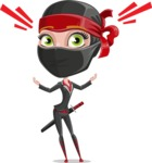 Ninja Woman Cartoon Vector Character AKA Aina - Shocked