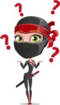 Ninja Woman Cartoon Vector Character AKA Aina - Confused
