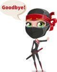 Ninja Woman Cartoon Vector Character AKA Aina - Goodbye