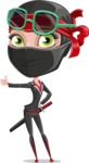 Ninja Woman Cartoon Vector Character AKA Aina - Sunglasses 2
