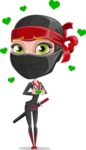 Ninja Woman Cartoon Vector Character AKA Aina - Show Love