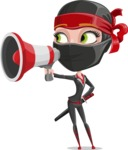 Ninja Woman Cartoon Vector Character AKA Aina - Loudspeaker