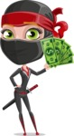 Ninja Woman Cartoon Vector Character AKA Aina - Show me the Money