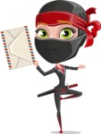 Ninja Woman Cartoon Vector Character AKA Aina - Letter