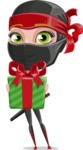 Ninja Woman Cartoon Vector Character AKA Aina - Gift