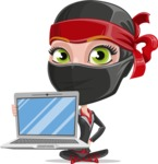 Ninja Woman Cartoon Vector Character AKA Aina - Laptop 1