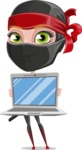 Ninja Woman Cartoon Vector Character AKA Aina - Laptop 3