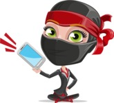 Ninja Woman Cartoon Vector Character AKA Aina - Smartphone2