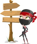Ninja Woman Cartoon Vector Character AKA Aina - Crossroads