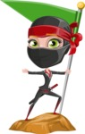 Ninja Woman Cartoon Vector Character AKA Aina - On the Top