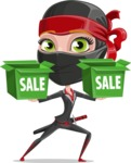 Ninja Woman Cartoon Vector Character AKA Aina - Sale 1