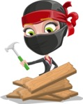 Ninja Woman Cartoon Vector Character AKA Aina - Repair