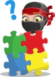Ninja Woman Cartoon Vector Character AKA Aina - Puzzle