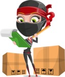 Ninja Woman Cartoon Vector Character AKA Aina - Delivery 2